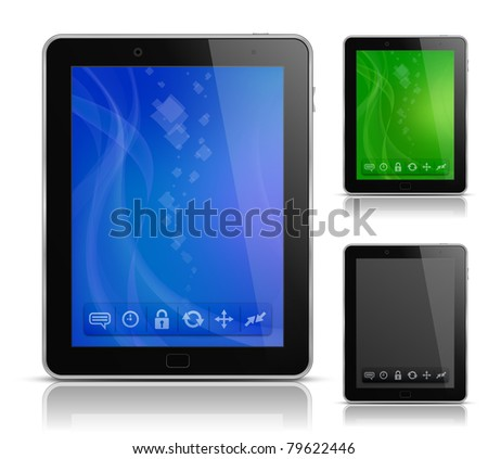 Tablet PC with abstract background and icons. User interface template. EPS 10. Vector illustration - stock vector
