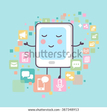 tablet pc with all kinds of icons,great for technology concept design - stock vector