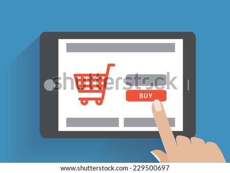 Tablet pc with buy button on the screen. E-commerce flat design concept. Using tablet pc for online purchasing. Eps 10 vector - stock vector
