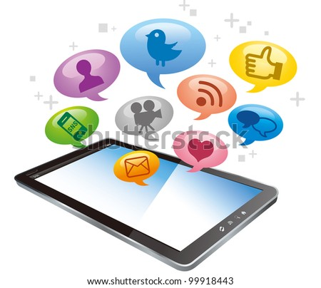 Tablet PC with cloud of colorful application icons isolated on white background vector - stock vector