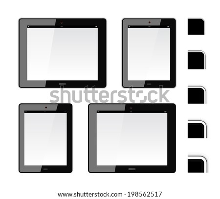 Tablet PC with different thickness of the shell. Just flip the horizontal and vertical elements - stock vector
