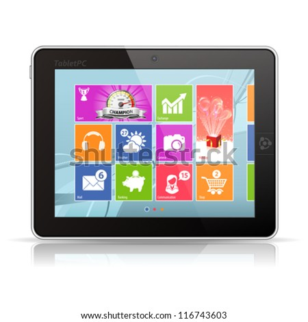Tablet PC with modern icons on abstract background, isolated, vector illustration - stock vector