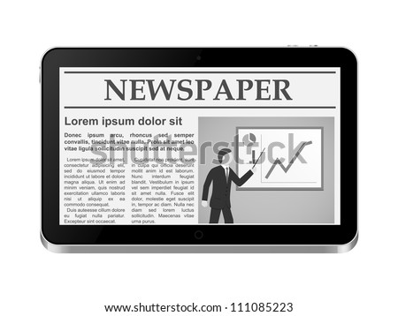 Tablet PC with online newspaper. Vector illustration. - stock vector