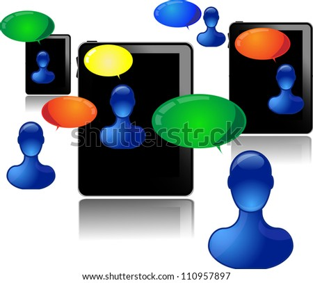 Tablet pc with people communicating - stock vector