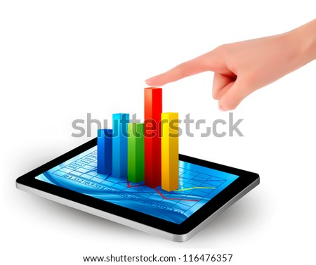 Tablet screen with graph and a hand. Vector - stock vector