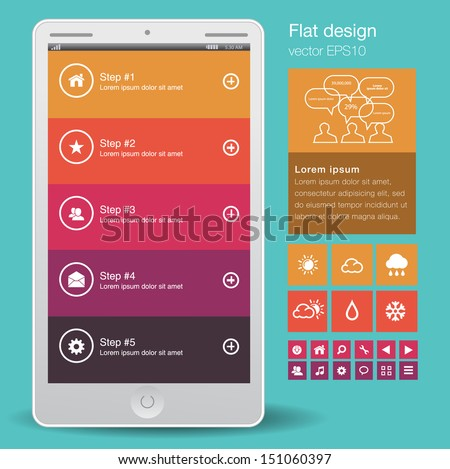 Tablet with a set of beautiful components featuring the flat design trend. Modern UI - stock vector