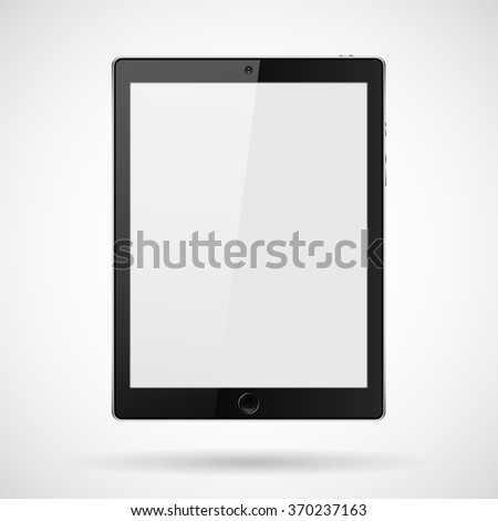 tablet with buttons, a camera on a gray background  and shadow - stock vector