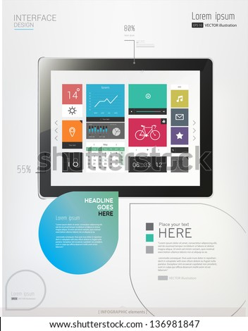 Tablet with interface template and abstract Infographic elements. Vector illustration/eps 10 - stock vector