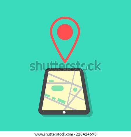 tablet with map and pointer. concept of mobile gps navigation on a screen. isolated on green background. flat style modern vector illustration - stock vector