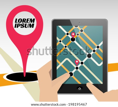 Tablet with map. Can be used as template for presentation or ad. - stock vector