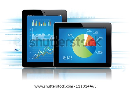 Tablet with statistics chart.Vector illustration./Tablet Statistics - stock vector