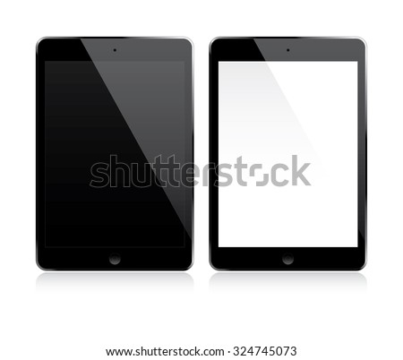 Tablet with white and black screen - stock vector