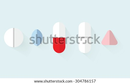 Tablets and pills. flat design - stock vector