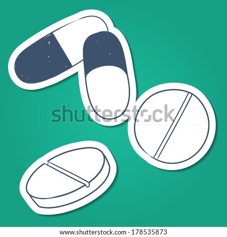 Tablets and pills. Sketch sticker vector element for medical or health care design - stock vector