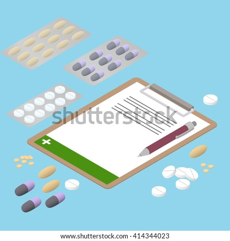Tablets of different shapes. Flat isometric. The prescription of antibiotics. Pills in the package. Medication. Pills and capsules. Vector Illustration. - stock vector