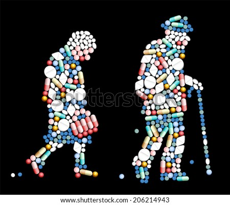 Tablets, pills and capsules, that shape the silhouette of an old woman and an old man. Vector illustration on black background. - stock vector
