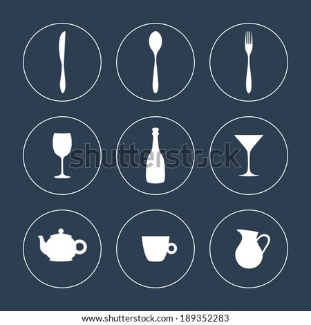 Tableware icon set. Vector illustration - stock vector