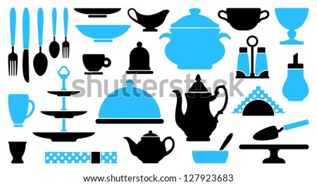 Tableware icons - stock vector