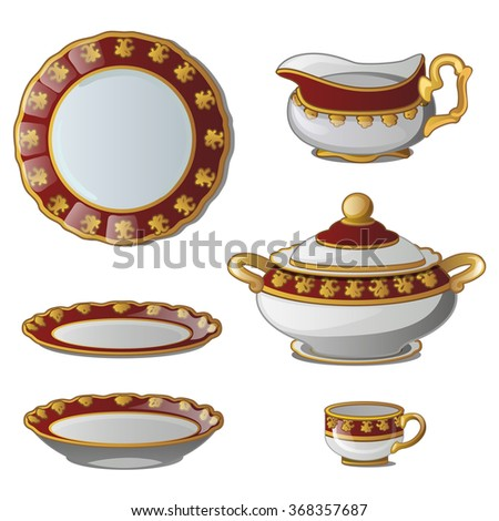 Tableware made of porcelain. Vector. - stock vector