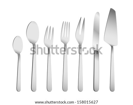 Tableware set eps8 - stock vector