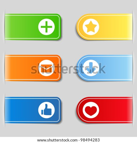 Tabs with icons, vector eps10 illustration - stock vector