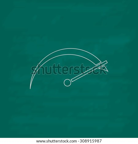 Tachometer. Outline vector icon. Imitation draw with white chalk on green chalkboard. Flat Pictogram and School board background. Illustration symbol - stock vector
