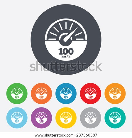 Tachometer sign icon. 100 km per hour revolution-counter symbol. Car speedometer performance. Round colourful 11 buttons. Vector - stock vector