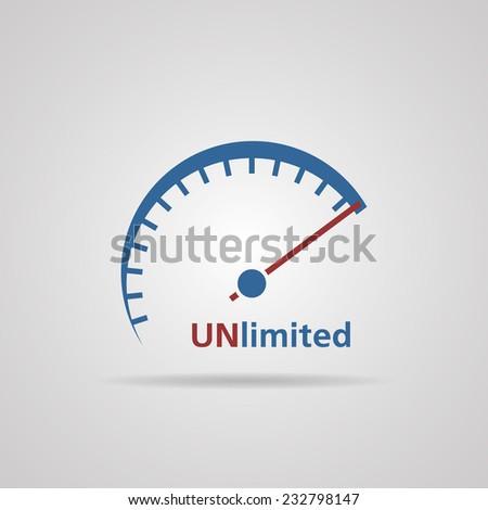 Tachometer, Speedometer symbol of unlimited speed, business concept. vector illustrations  - stock vector