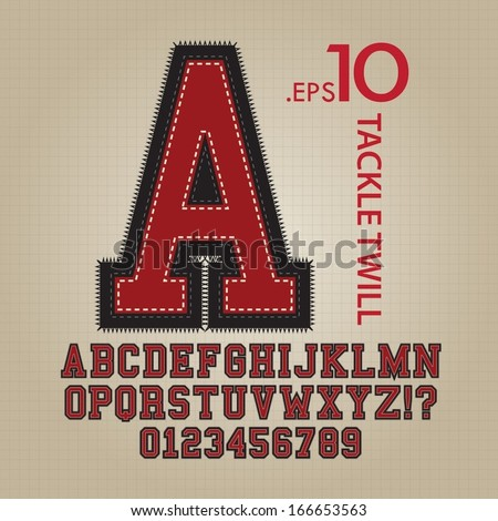 Tackle Twill Alphabet and Numbers Vector - stock vector