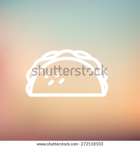 Taco icon thin line for web and mobile, modern minimalistic flat design. Vector white icon on gradient mesh background. - stock vector