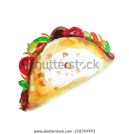 Tacos , Mexican food - stock vector