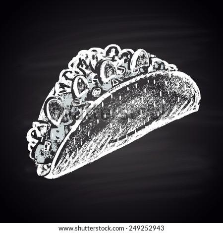 Tacos sharp illustration of chalk. - stock vector