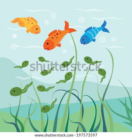 Tadpoles and fish. Hungry fish eats some of the tadpoles. - stock vector