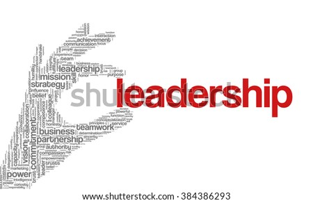 "Tag cloud containing words related to strategy, leadership, business, innovation, success, motivation, vision, mission and teamwork in the shape of hand holding a word. ""Leadership"" emphasized. - stock vector"