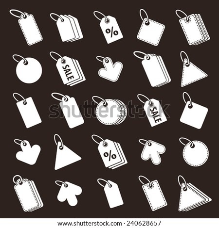 Tag icons vector set, retail theme simplistic symbols vector collections. - stock vector