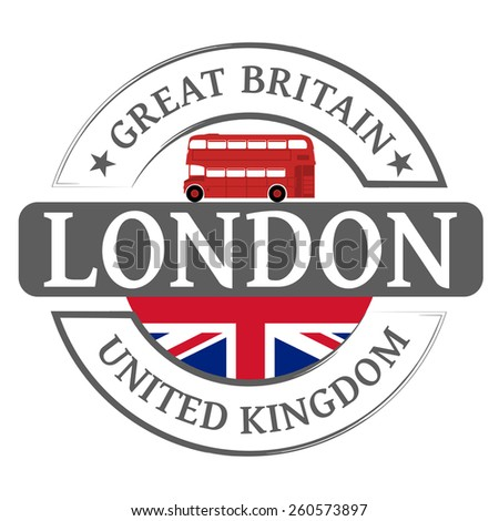 Tag London and red london bus - stock vector