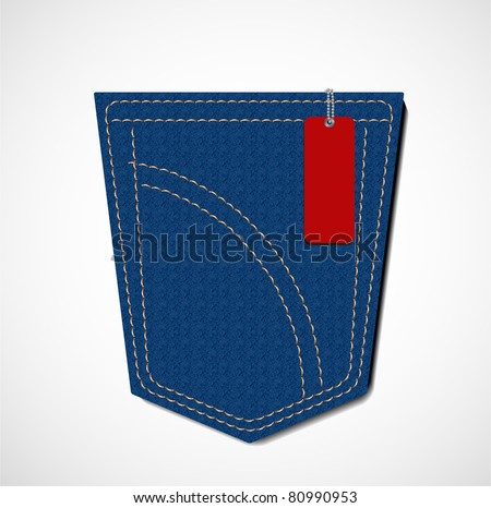 tag with blue jeans pocket - stock vector