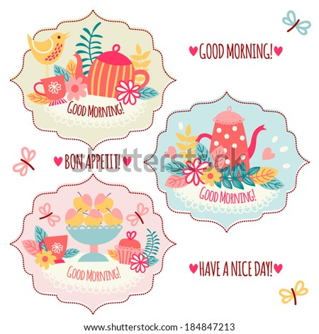 """Tags """"Good morning"""". Templates for postcards and invitations.  - stock vector"""