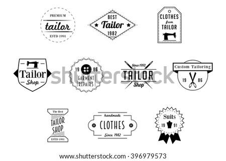 Tailor Badges Black Vector Logos - stock vector