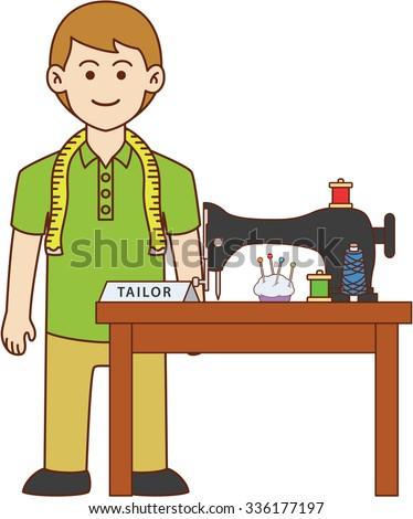 Tailor doodle cartoon design illustration - stock vector