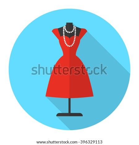 Tailor's mannequin vector flat icon with long shadow. Beautiful red dress on mannequin. Fashion mannequin icon. - stock vector