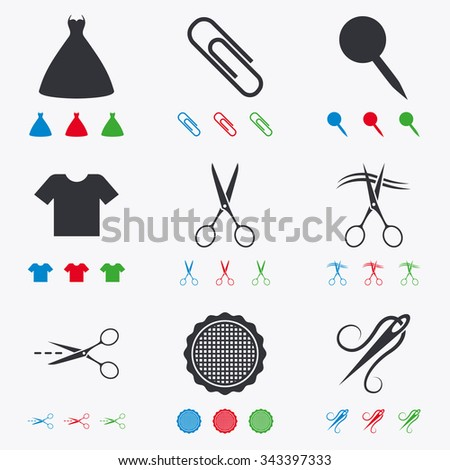 Tailor, sewing and embroidery icons. Scissors, safety pin and needle signs. Shirt and dress symbols. Flat black, red, blue and green icons. - stock vector