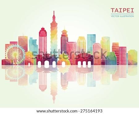 Taipei detailed skyline. Vector illustration - stock vector