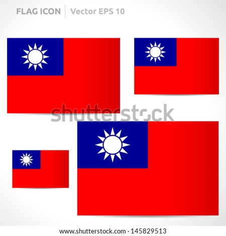 Taiwan flag template | vector symbol design | color red blue and white | icon set - stock vector