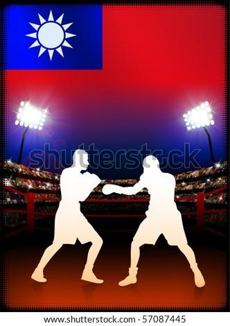 Taiwan Flag with Boxer on Stadium Background Original Illustration - stock vector