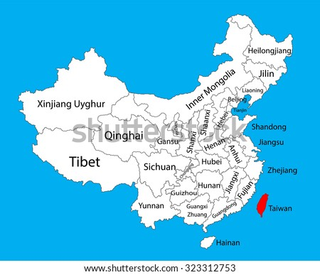 Taiwan, province map, China vector map illustration isolated on background. Editable China map vector. - stock vector