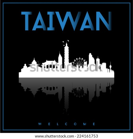 Taiwan, skyline silhouette vector design on parliament blue and black background. - stock vector