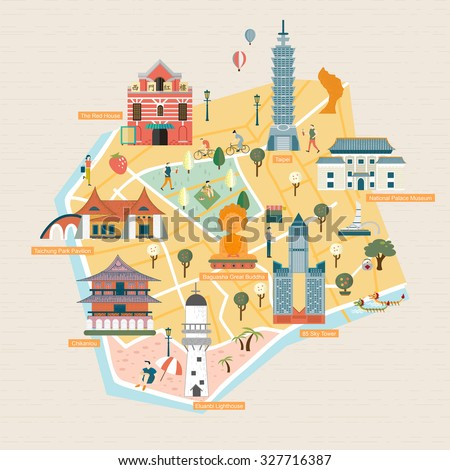 Taiwan travel concept - landmarks in flat design style - stock vector