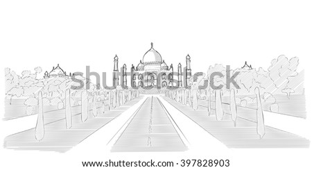 Taj Mahal hand drawn sketch of famous indian tourist attraction. Vector drawing - stock vector