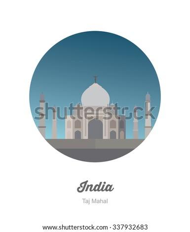 Taj Mahal  in India - stock vector